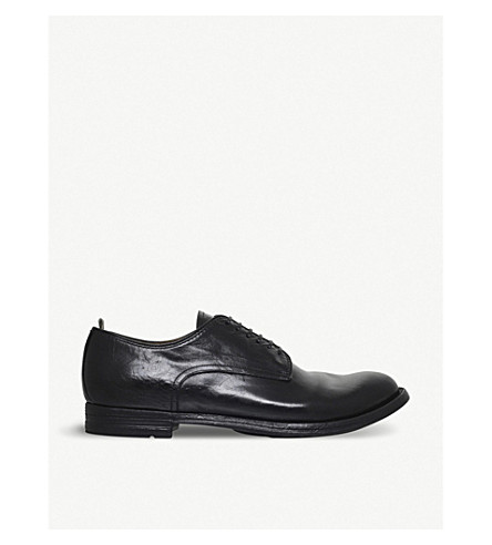 OFFICINE CREATIVE 6-Eyelet Leather Derby Shoes in Black