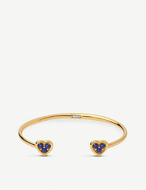 LINKS OF LONDON Heart 18ct yellow-gold vermeil, lapis lazuli and diamond cuff bracelet