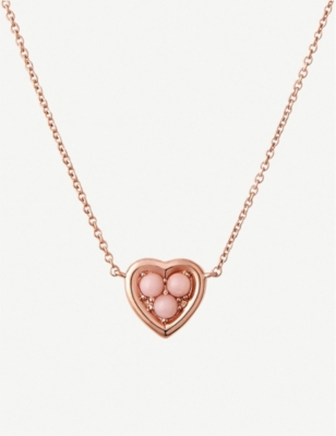 LINKS OF LONDON Heart 18ct rose-gold vermeil and pink opal necklace