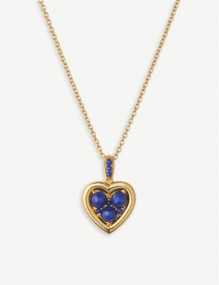 LINKS OF LONDON Open Heart yellow-gold vermeil and lapis lazuli necklace