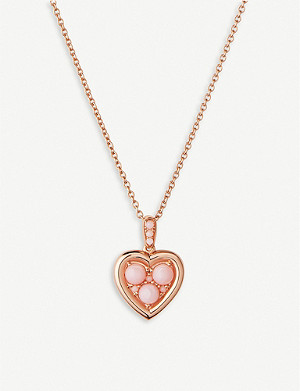 LINKS OF LONDON Open Heart rose-gold vermeil and pink-opal necklace