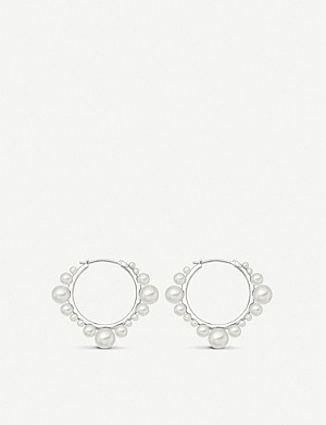 LINKS OF LONDON Orbs sterling silver and pearl hoop earrings