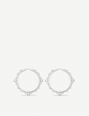 LINKS OF LONDON Orbs small sterling silver and pearl hoop earrings