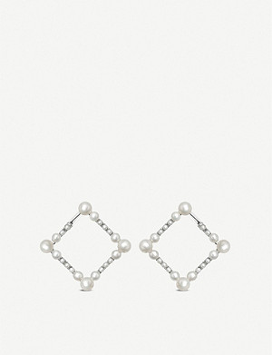 LINKS OF LONDON Orbs sterling silver and pearl square earrings
