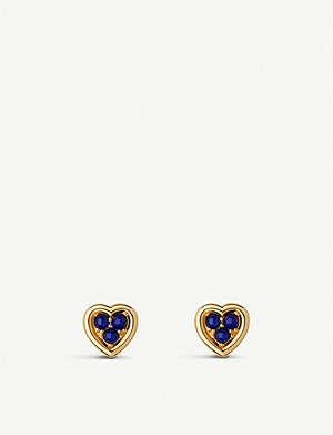 LINKS OF LONDON Open Heart 18ct yellow-gold vermeil and lapis lazuli stud earrings