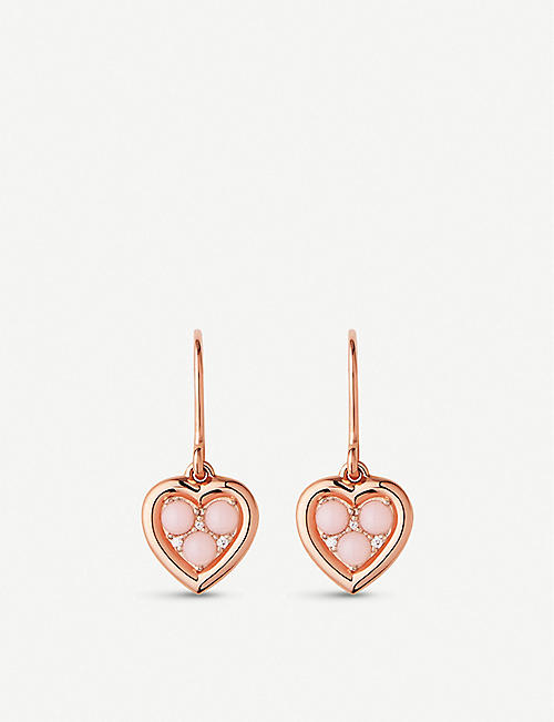 976abd58b LINKS OF LONDON Open Heart 18ct rose-gold vermeil with pink opal and  diamond earrings