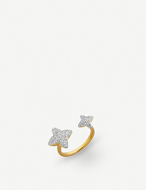 LINKS OF LONDON Splendour 18ct yellow-gold vermeil diamond four-point double star ring
