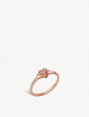 LINKS OF LONDON Open Heart 18ct rose-gold vermeil and pink opal ring