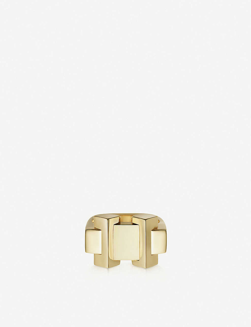 LINKS OF LONDON: Brutalist gold-plated vermeil silver block ring