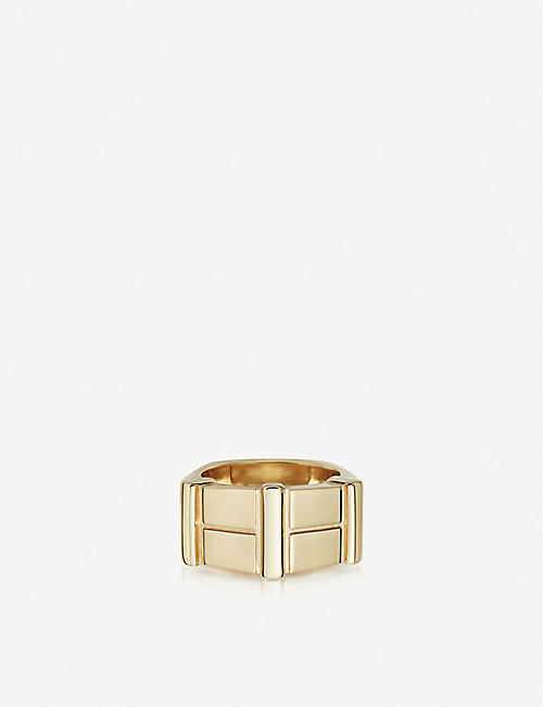 LINKS OF LONDON Brutalist yellow-gold vermeil bar ring