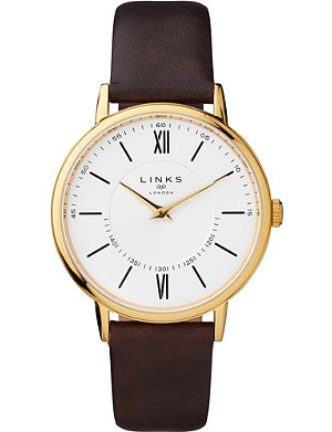 LINKS OF LONDON Noble gold-plated stainless steel and leather watch