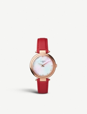 LINKS OF LONDON 6010-2218 Timeless rose-gold tone, mother-of-pearl and leather strap watch