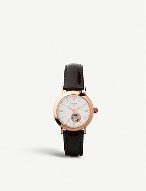 LINKS OF LONDON 60102694 Noble rose gold-plated and leather strap chronograph watch