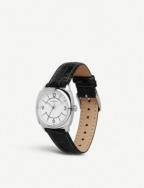 1d8124dbe LINKS OF LONDON 60102698 Brompton stainless steel and leather strap watch