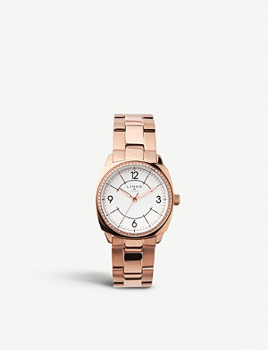 LINKS OF LONDON 60102702 Brompton rose gold-plated and crystal-embellished watch