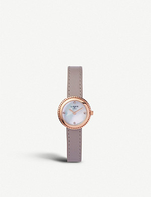 LINKS OF LONDON Effervescence rose-gold plated sterling silver and leather watch
