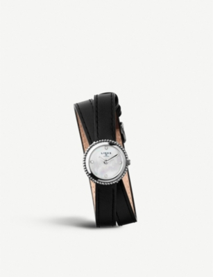 LINKS OF LONDON Effervescence sterling silver and leather double strap watch