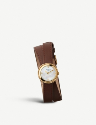 LINKS OF LONDON Effervescence yellow-gold plated sterling silver and leather double strap watch