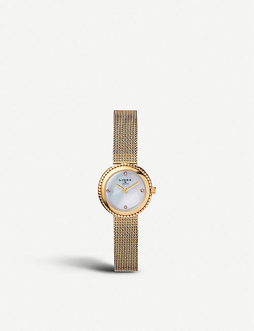 LINKS OF LONDON Effervescence yellow-gold plated stainless steel chain watch