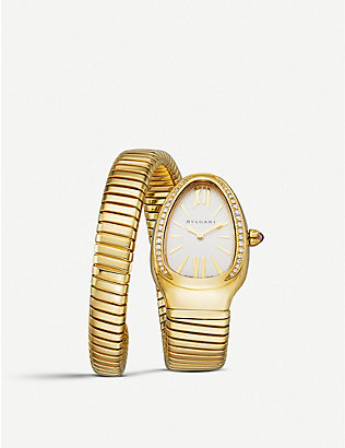 BVLGARI: Serpenti Tubogas 18ct pink-gold and diamond watch