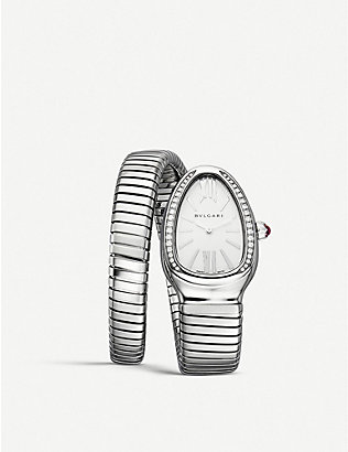 BVLGARI: Serpenti Tubogas stainless steel and diamond watch