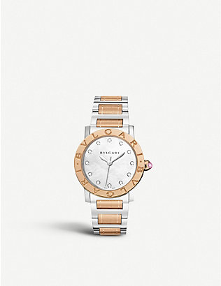 BVLGARI: BVLGARI-BVLGARI 18ct pink-gold, stainless steel and diamond watch