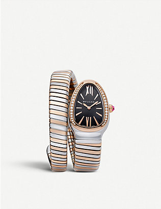 BVLGARI: Serpenti 18ct pink-gold and stainless steel watch