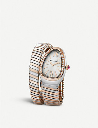 BVLGARI: Serpenti 18ct pink-gold, stainless steel and diamond watch