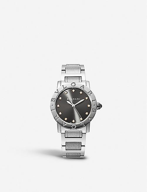 c19340fd231 BVLGARI Bvlgari-Bvlgari stainless steel and diamond watch