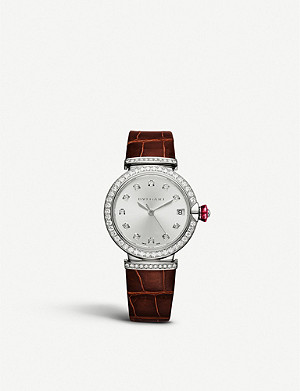 BVLGARI Lvcea 18ct white-gold, diamond and alligator leather watch
