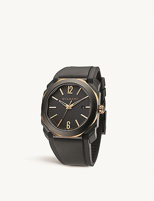 BVLGARI: 103085 Octo L'Originale 18ct rose-gold and rubber watch