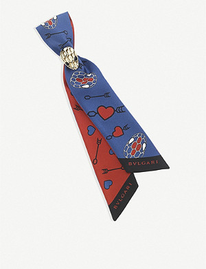 BVLGARI Electro Love 'Tie my Heart' Shelley silk scarf