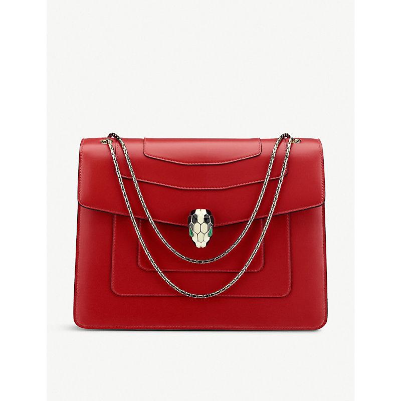 BVLGARI   Bvlgari Serpenti Forever Leather Shoulder Bag, Women'S, Ruby Red   Goxip