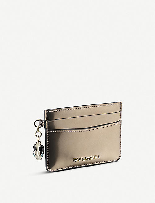 BVLGARI Serpenti Forever charm metallic leather cardholder