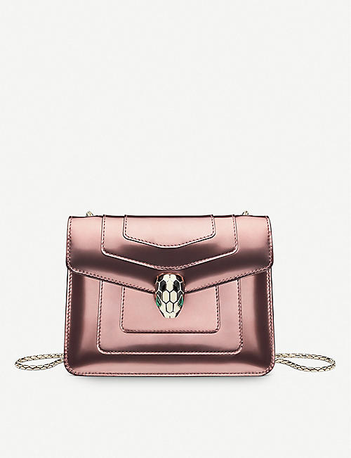 BVLGARI: Serpenti Forever metallic-leather shoulder bag
