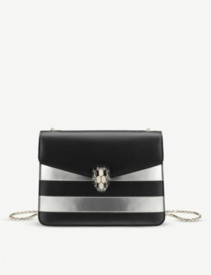 BVLGARI Serpenti Forever striped metallic-leather shoulder bag