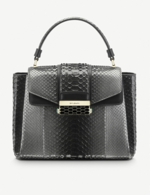 BVLGARI Serpenti Viper two tone python leather bag
