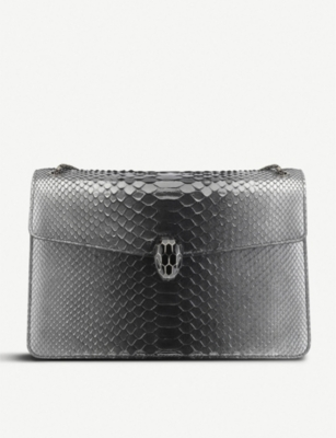 BVLGARI Serpenti Forever python skin leather shoulder bag