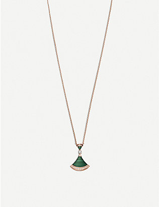 BVLGARI: Divas' Dream 18ct rose-gold, malachite and diamond necklace