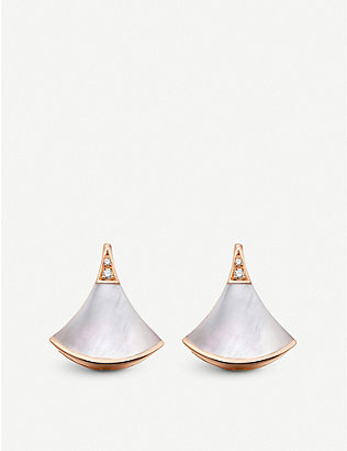 BVLGARI: Divas' Dream 18kt pink-gold and mother of pearl earrings