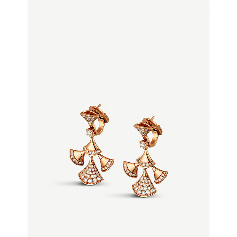 BVLGARI   Bvlgari Divas' Dream 18kt Pink-Gold And Diamond Earrings, Women'S, Pink Gold   Goxip