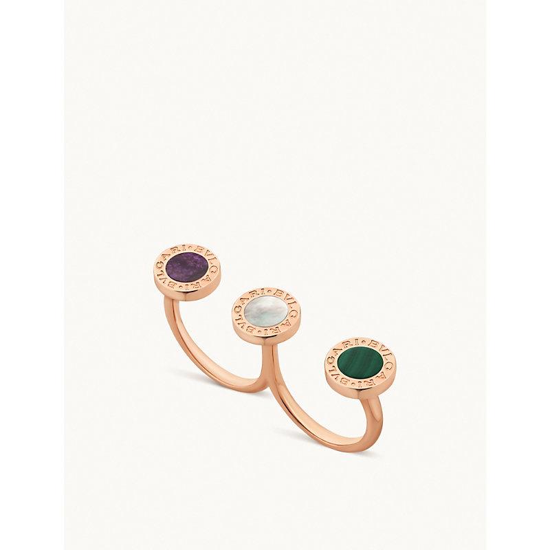 BVLGARI   BVLGARI BVLGARI 18ct Rose-Gold And Mother-Of-Pearl Ring   Goxip