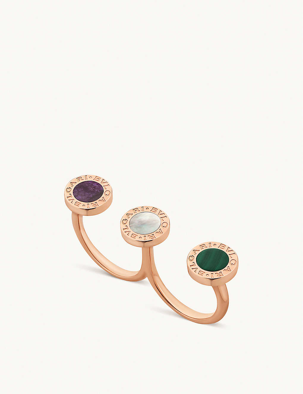 BVLGARI: BVLGARI BVLGARI 18ct rose-gold and mother-of-pearl ring