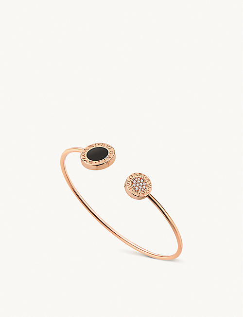BVLGARI: BVLGARI BVLGARI 18ct rose-gold diamond and onyx bracelet