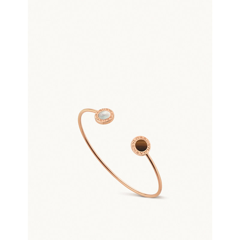 BVLGARI   BVLGARI BVLGARI 18ct Rose-Gold And Mother-Of-Pearl Bracelet   Goxip