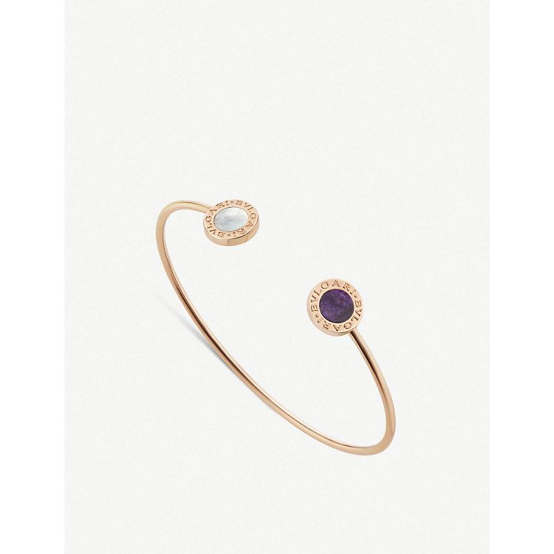 BVLGARI   Bvlgari Bvlgari 18ct Rose-Gold, Mother-Of-Pearl And Sugilite Bracelet   Goxip