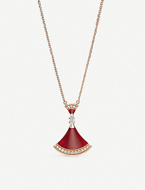 BVLGARI: Divas Dream 18ct rose-gold, carnelian and diamond necklace