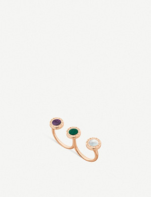 BVLGARI Bvlgari Bvlgari 18ct rose-gold, mother-of-pearl, malachite and sugilite ring