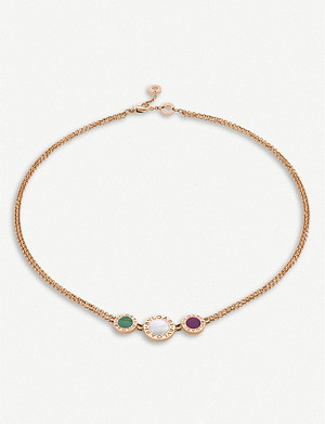 BVLGARI Bvlgari Bvlgari 18ct rose-gold, mother-of-pearl, malachite and sugilite choker necklace