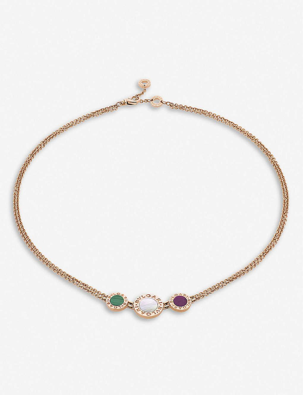 BVLGARI: Bvlgari Bvlgari 18ct rose-gold, mother-of-pearl, malachite and sugilite choker necklace